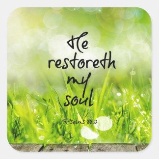Él restoreth mi escritura del verso de la biblia pegatina cuadrada
