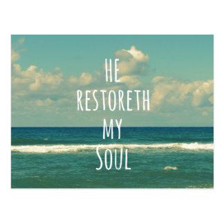 Él restoreth mi escritura del verso de la biblia postal
