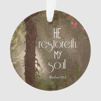 Él restoreth mi verso de la biblia del alma