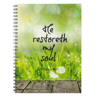 Él restoreth mi verso de la biblia del alma libros de apuntes