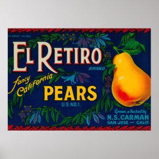 El Retiro Pear Crate Label Poster