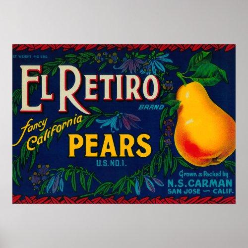 El Retiro Pear Crate Label