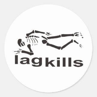 El retraso mata al esqueleto pegatina redonda