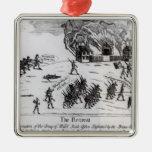 El retratamiento, publicado 1775 adorno navideño cuadrado de metal