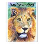 El retrato ACEO del león invita Invitación 10,8 X 13,9 Cm