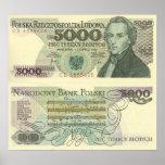 El retrato de Chopin en el poster polaco de la mon