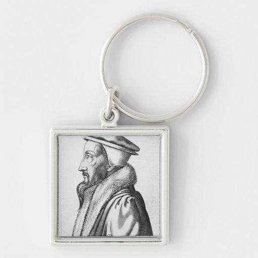 El retrato de Juan Calvino envejeció 53, 1564 Llavero Cuadrado Plateado
