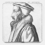 El retrato de Juan Calvino envejeció 53, 1564 Pegatina Cuadrada