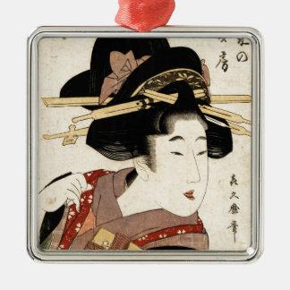 el retrato de la mujer (machiya ningún nyobo) adorno navideño cuadrado de metal