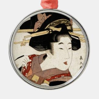 el retrato de la mujer (machiya ningún nyobo) adorno navideño redondo de metal