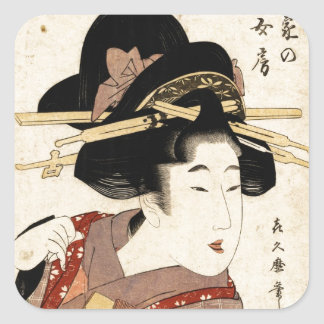 el retrato de la mujer (machiya ningún nyobo) pegatina cuadrada
