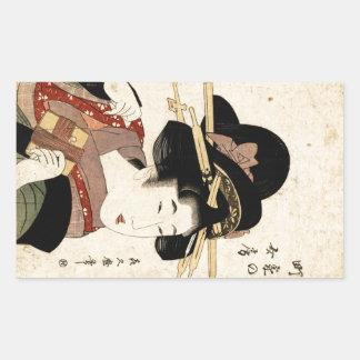 el retrato de la mujer (machiya ningún nyobo) pegatina rectangular