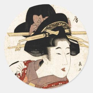 el retrato de la mujer (machiya ningún nyobo) pegatina redonda