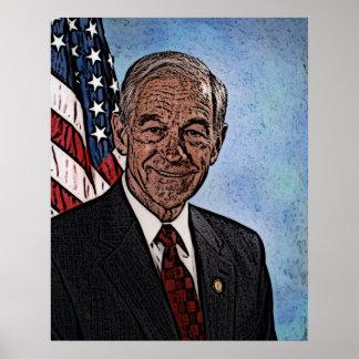 El retrato de Ron Paul basó de su 07' foto del Póster