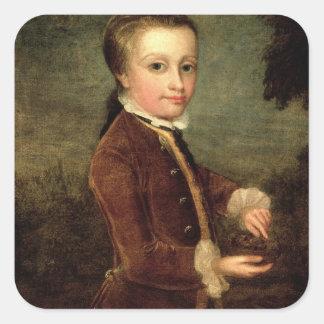 El retrato de Wolfgang Amadeus Mozart envejeció Pegatina Cuadrada