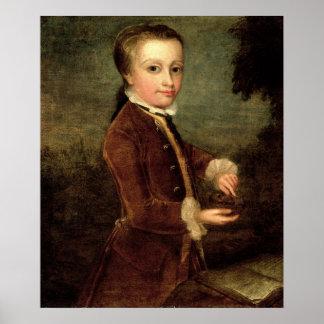 El retrato de Wolfgang Amadeus Mozart envejeció Póster