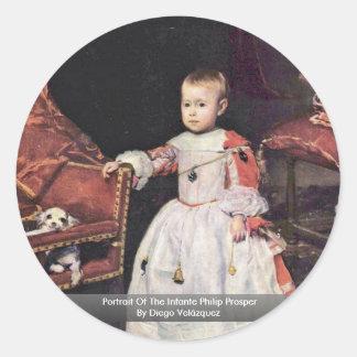 El retrato del infante Philip prospera Pegatina Redonda
