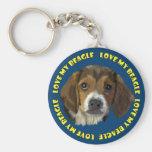 El retrato del perro del beagle, ama mi beagle llavero redondo tipo pin