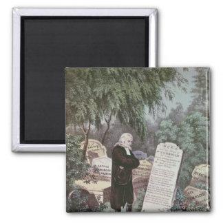 El Rev. John Wesley que visita el sepulcro de su m Imán Cuadrado