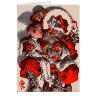 El revestimiento de Santa Tarjeta De Felicitación