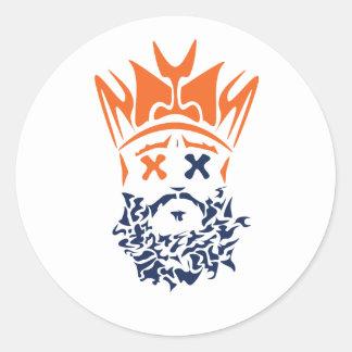 El rey barbudo Sticker- Broncos Pegatina Redonda