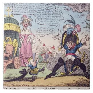 El rey de Roma, 1814 - dibujo animado que muestra  Teja Cerámica