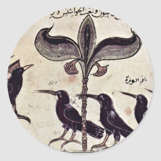 El rey del cuervo y su consejo de Arabischer Maler Pegatina Redonda