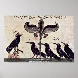 El rey del cuervo y su consejo de Arabischer Maler Póster