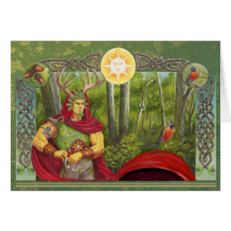 El rey del roble y rey del acebo tarjeta de felicitación
