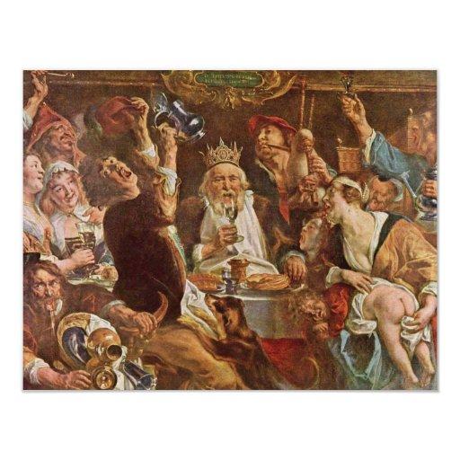 El rey Drinks By Jordaens Jacob (la mejor calidad) Invitación 10,8 X 13,9 Cm