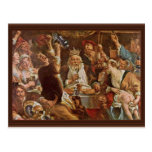 El rey Drinks By Jordaens Jacob (la mejor calidad) Tarjeta Postal