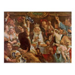 El rey Drinks By Jordaens Jacob (la mejor calidad) Postales