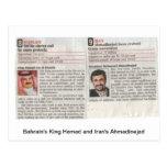 El rey Hamad de Bahrein y Admadinejad de Irán Tarjetas Postales