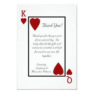 El rey/la reina del naipe le agradece las notas invitación 8,9 x 12,7 cm