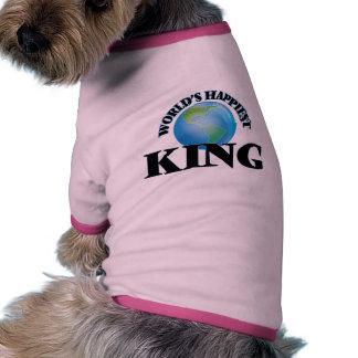 El rey más feliz del mundo camiseta con mangas para perro