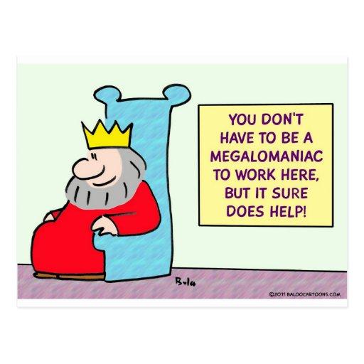 El rey no tiene que ser un megalomaniac para traba postales