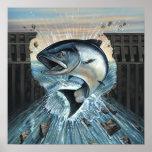 El rey salmón rompe la presa impresiones