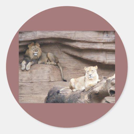 El rey Y la reina de la selva Pegatinas Redondas