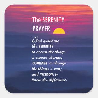 El rezo 2 de la serenidad pegatina cuadrada
