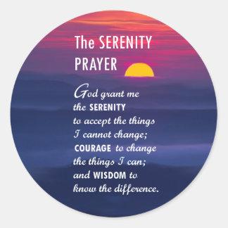 El rezo 2 de la serenidad pegatina redonda