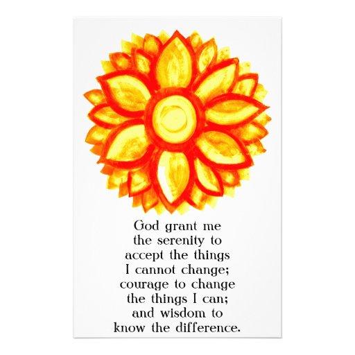 El rezo de la serenidad con el flor amarillo rojo  papeleria