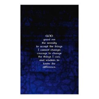 El rezo de la serenidad con el fondo azul papeleria de diseño