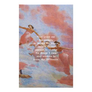El rezo de la serenidad con la pintura de los papelería de diseño