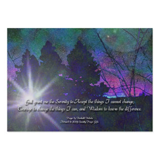 El rezo de la serenidad y dejó va dejar la tarjeta tarjetas de visita grandes