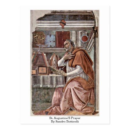El rezo de St Augustine de Sandro Botticelli Tarjetas Postales