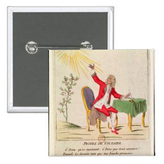 El rezo de Voltaire Pin Cuadrada 5 Cm