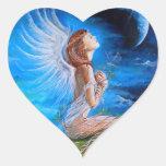 El rezo del ángel pegatina en forma de corazón