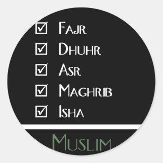 El rezo islámico - 5 veces al día - los musulmanes pegatina redonda
