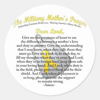 El rezo militar del ` s de la madre pegatina redonda