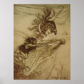 El Rhinemaidens que toma el pelo Alberich Póster